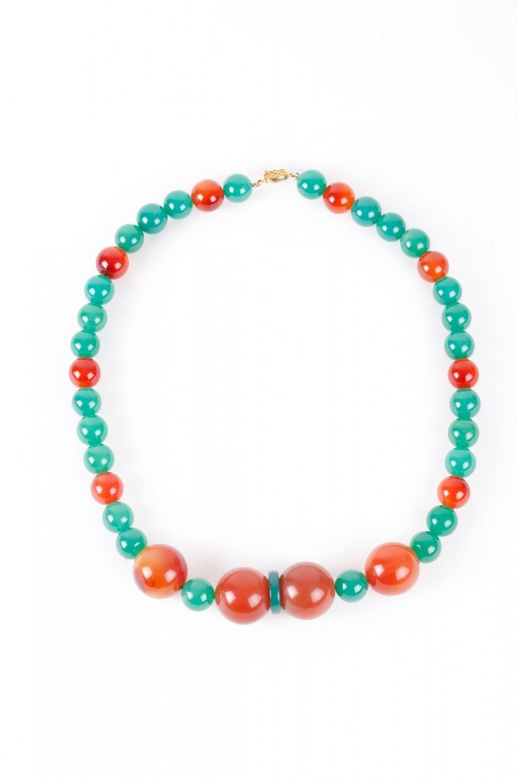 Chinese Agate/ Glass Ball Necklace