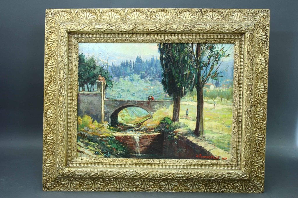 "Signed ""G. Ponticelli"" O/C Italian Canal Landscape"