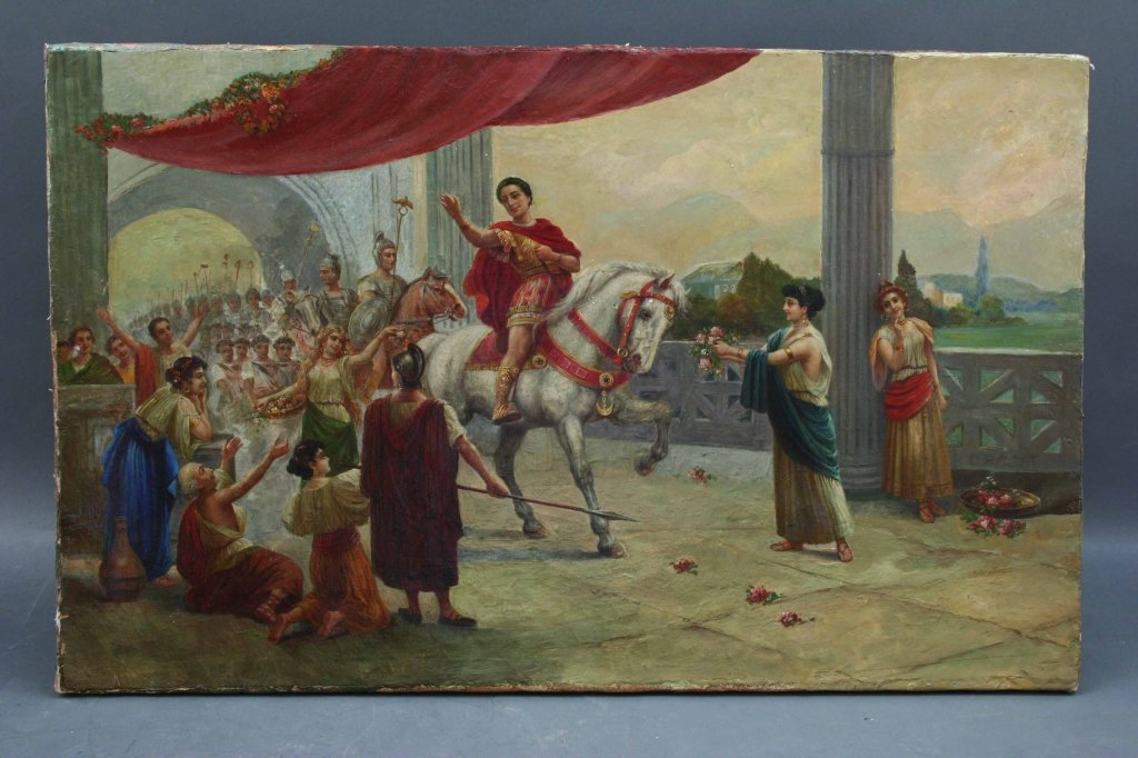 Oil/Canvas of Roman Emperor on White Horse