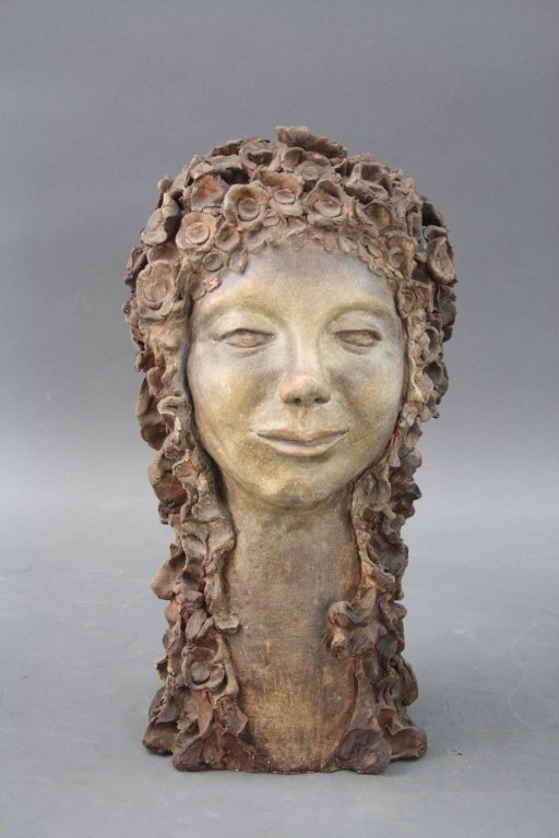 "Early French ""Terracota"" Bust of Maiden"