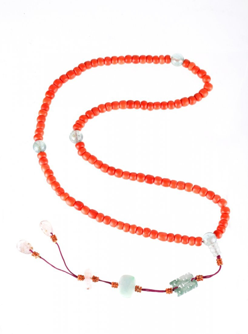 Chinese Coral & Tourmaline Beads Necklace