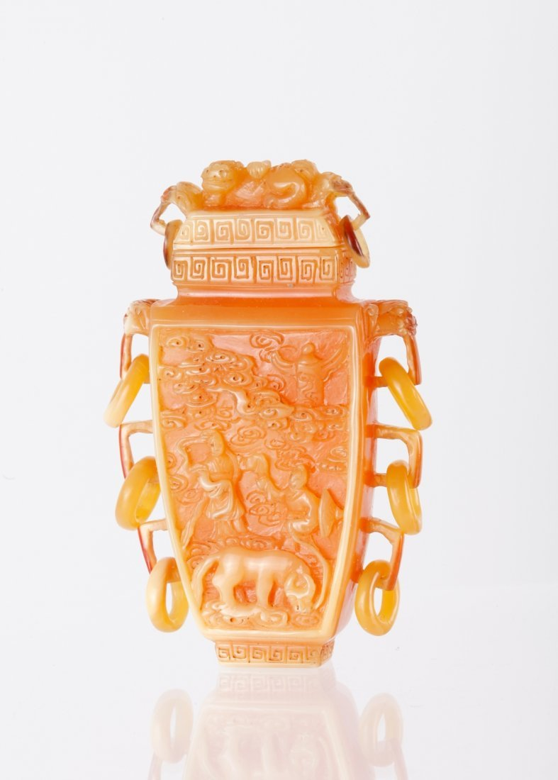 19th C. Chinese Hornbill Carved Snuff Bottle