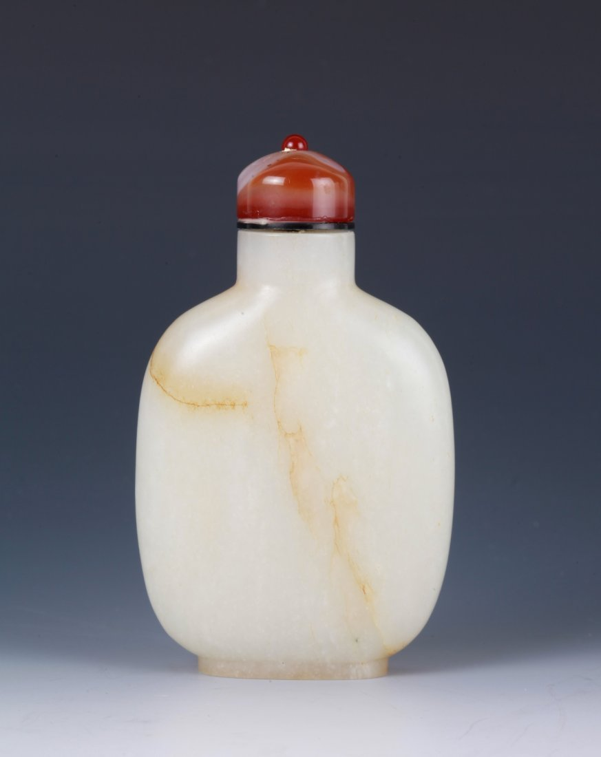 Chinese White Jade Snuff Bottle w/ Agate Top