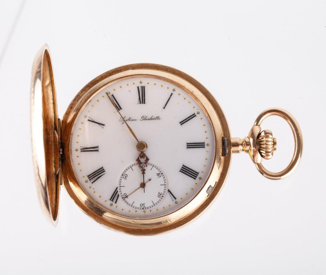 14 K Gold Lystime Glashutte Pocket Watch