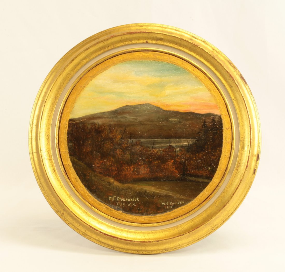 1935 Circular Oil on Board of Landscape