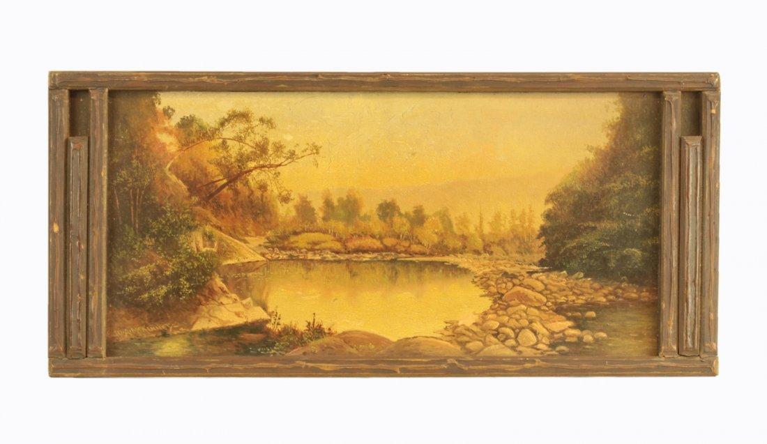 Oil on Board- Landscape in Wooden Frame