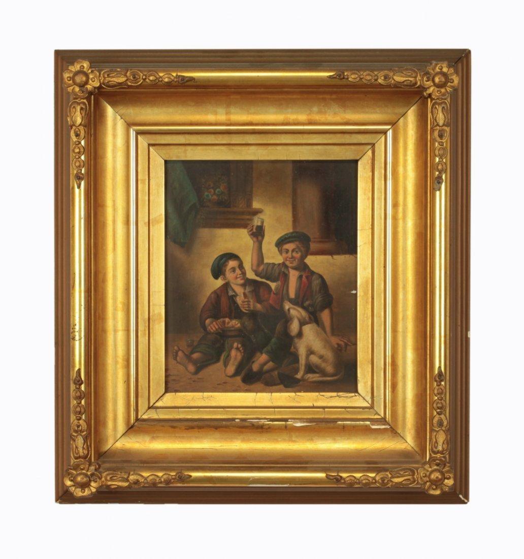 19th C. Oil on Board w/ Gild Frame