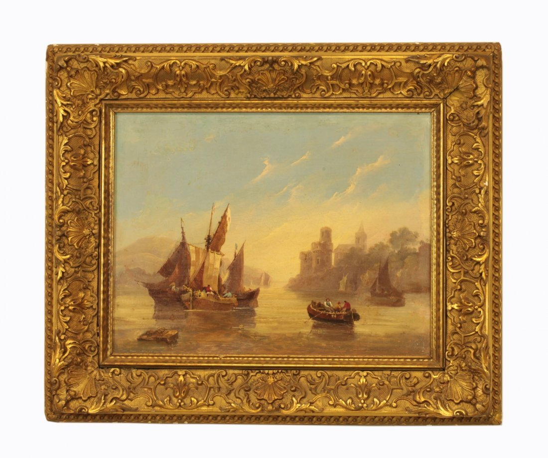 19th C. Oil on Canvas- Merchants on Boats in the B