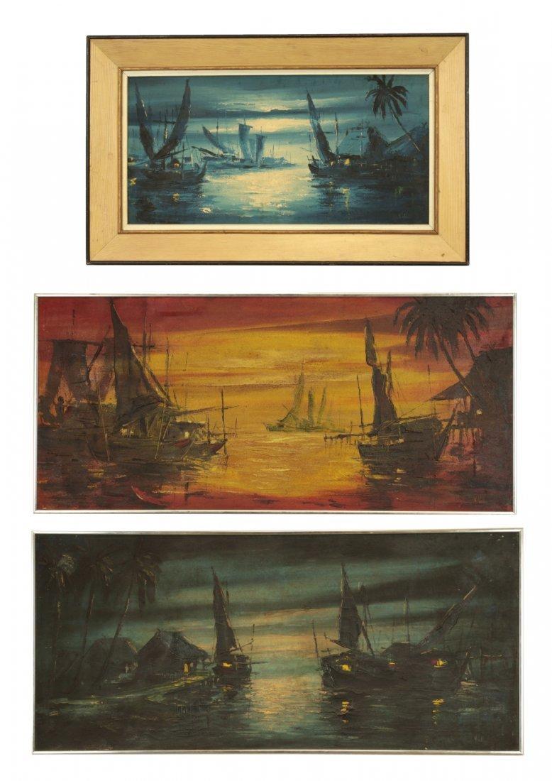 Lot of 3 Oil Paintings- Korean Artist