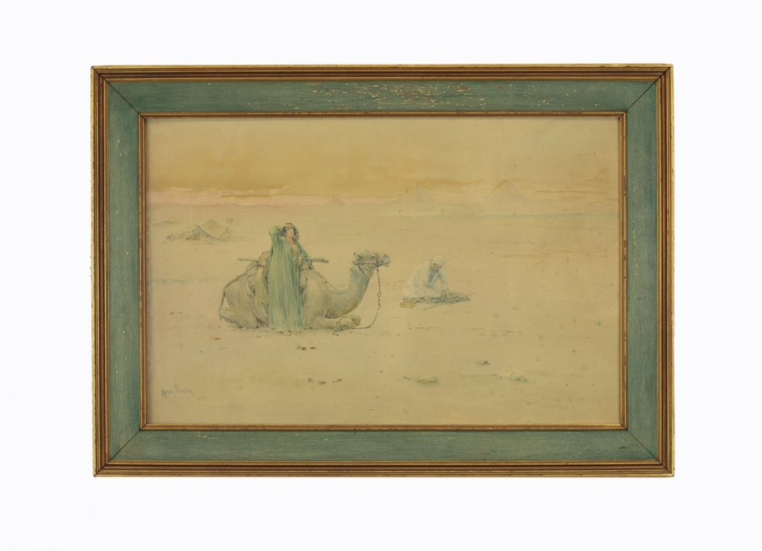 Henry Bacon- Watercolor- Men in Desert with Camel