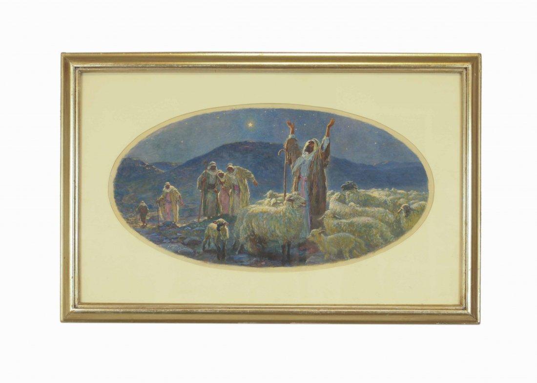 Norman Price- Religious Watercolor Ova w/ Frame