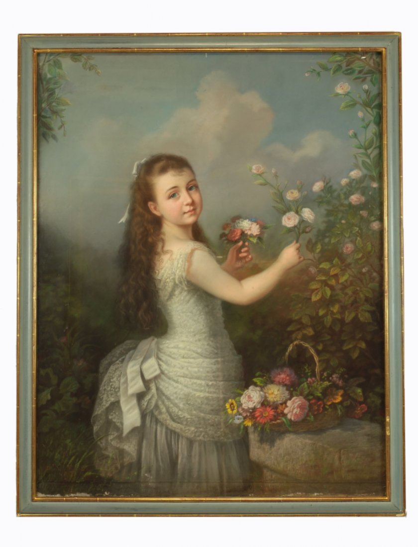 Signed Watercolor- Girl Picking Flowers w/ Basket
