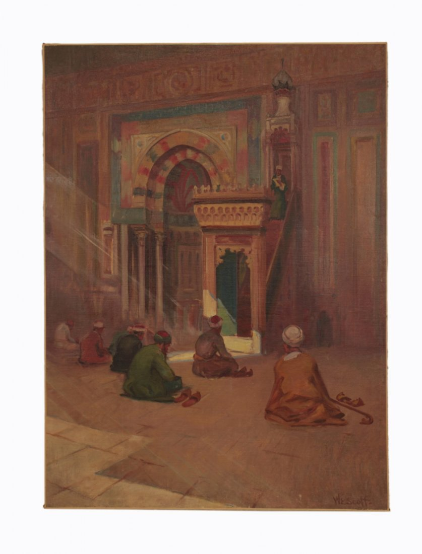 Signed Oil on Canvas of Men Praying on Mosque