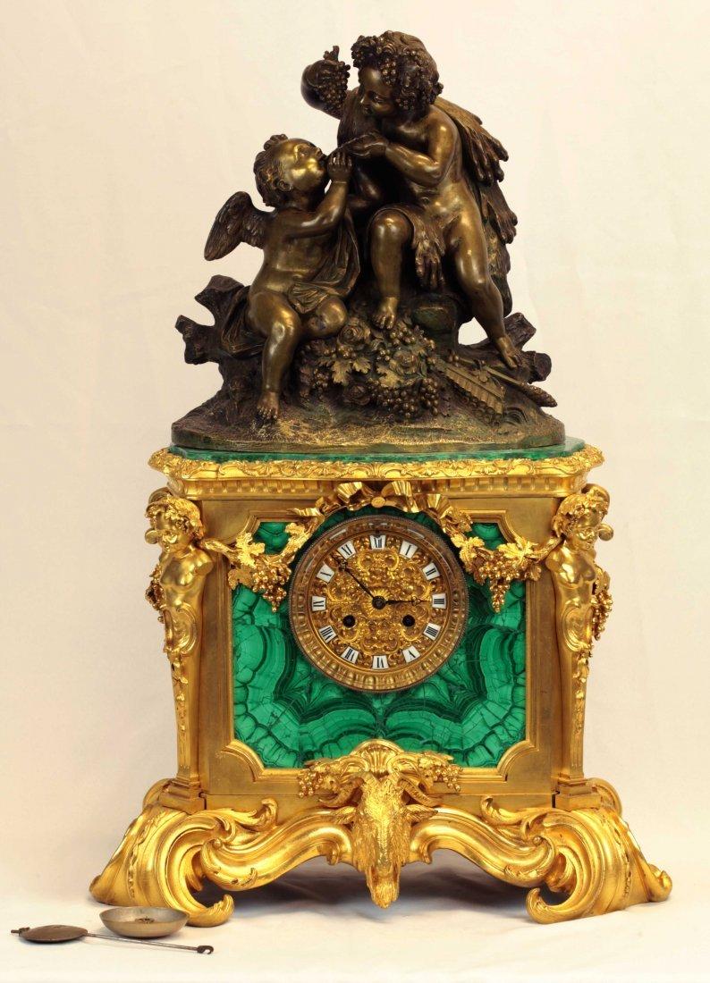 19th C. Dore Bronze and Malachite Clock