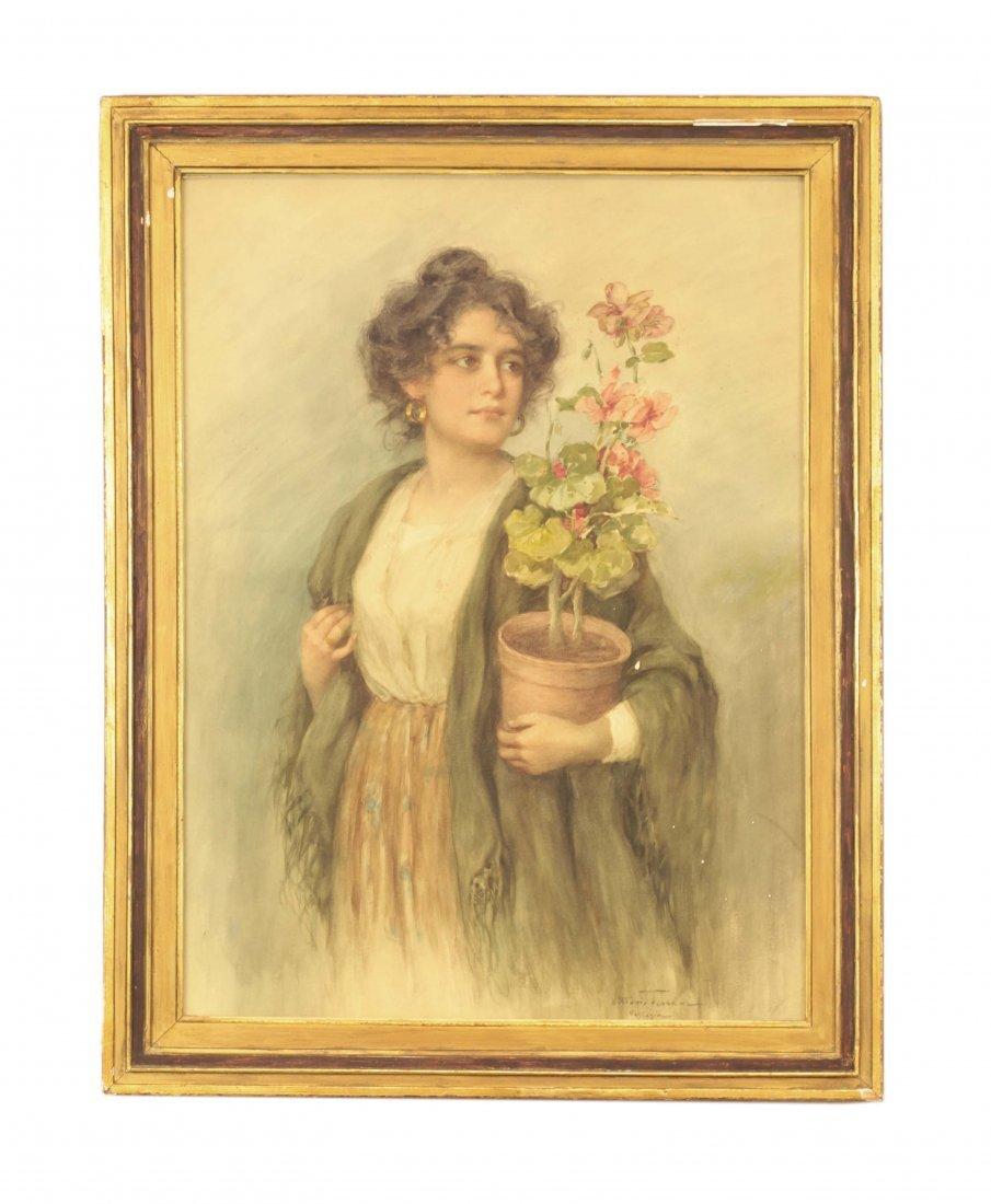 19th C. Watercolor- Vittorio Tessari (1860-1940)