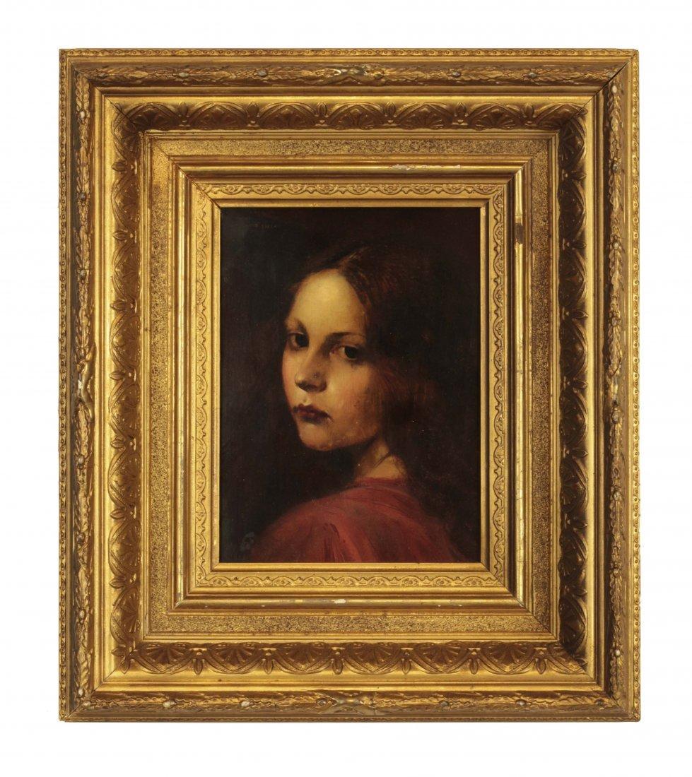 19th C. Oil on Panel- Portrait of Girl