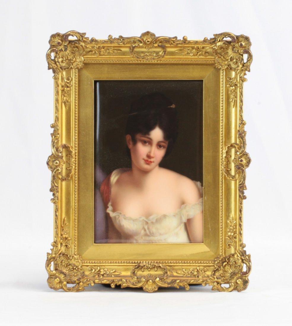 19th C. Porcelain Plaque of Pretty Woman w/ Frame