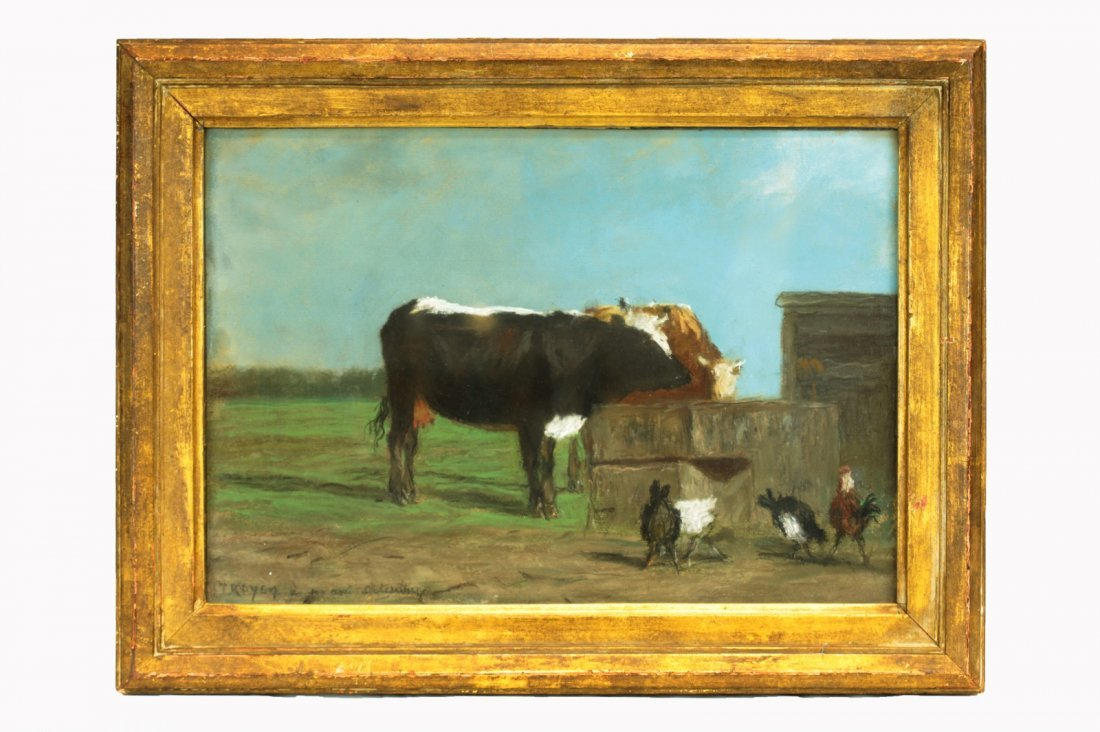 Troyon, Constant. Pastel on Paper. Cows Watering w