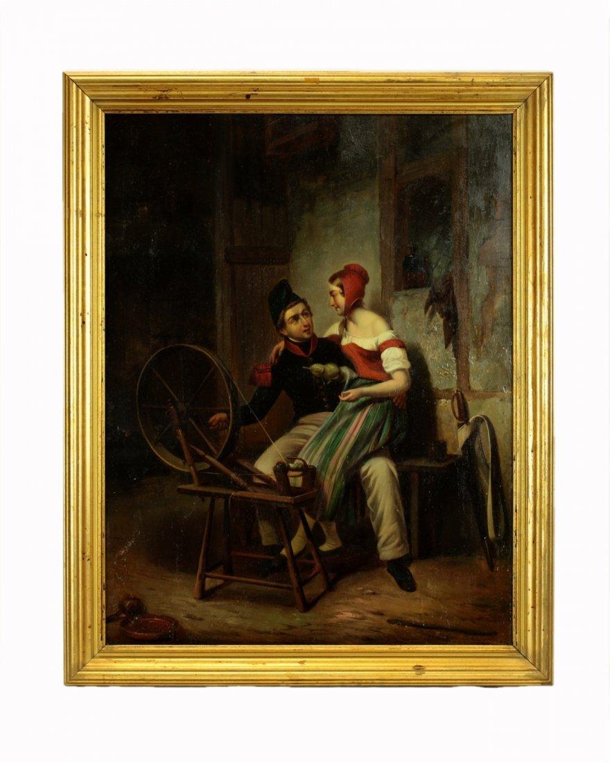 19th Century Oil on Board- Knitting Wheel Couple