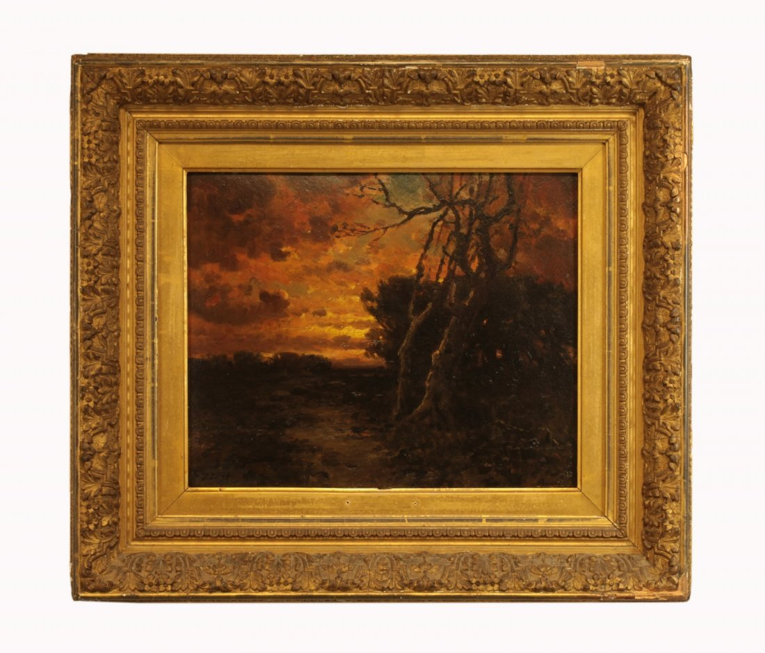 19th C. Oil on Cardboard Signed