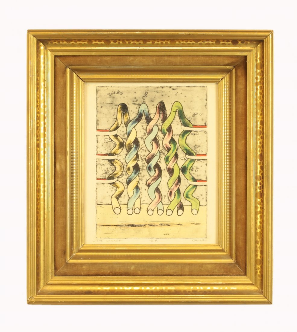 """Nama, George- """"The Cricket"""" Painted Etching"""
