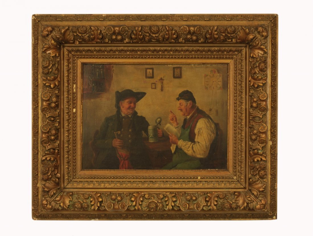 19th C. Bavarian Signed Oil on Board