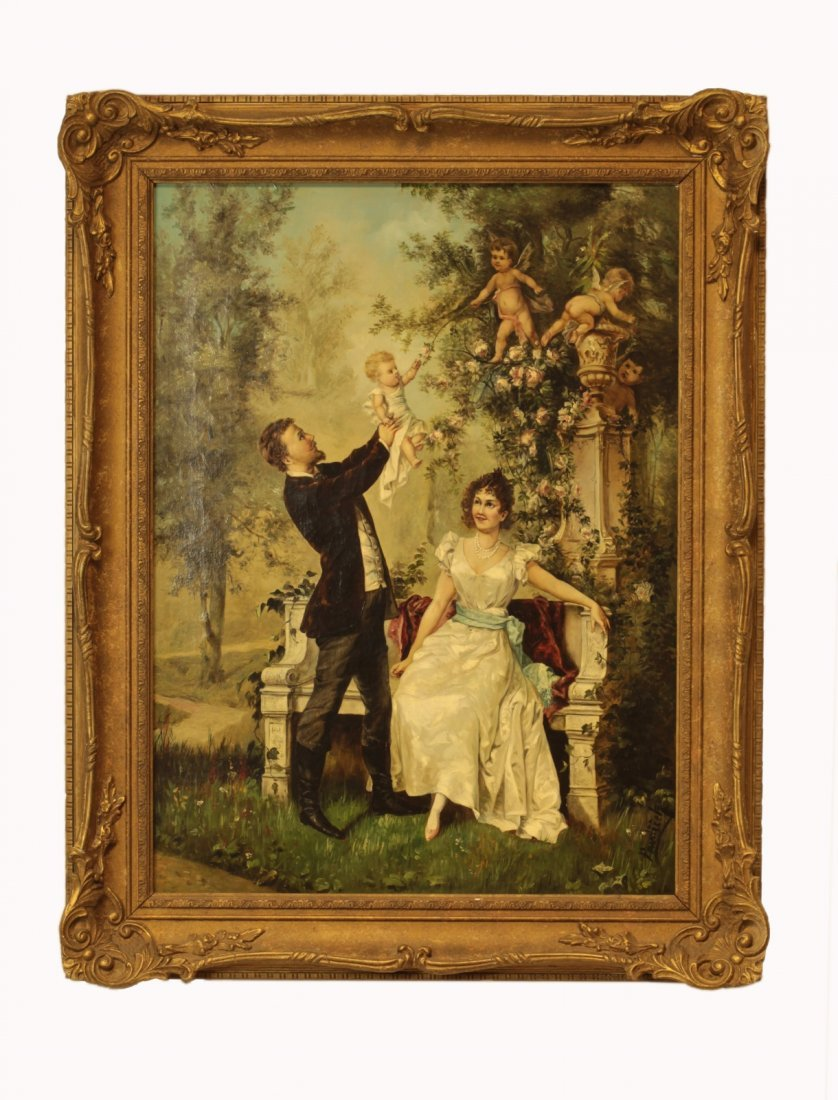 19th C. Oil on Canvas- Signed - Family with Cupids
