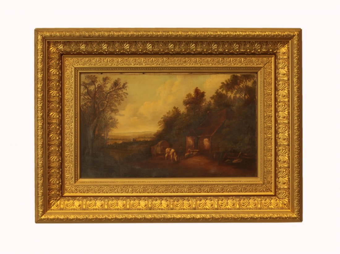 19th C. Oil on Canvas- Landscape in Gilded Frame