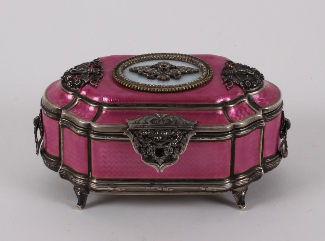 RUSSIAN SILVER PINK GUILLOCHE ENAMEL HINGED JEWELRY BOX