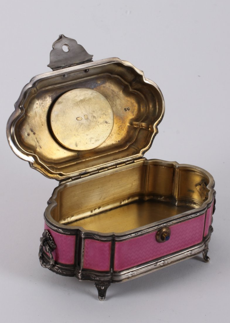 RUSSIAN SILVER PINK GUILLOCHE ENAMEL HINGED JEWELRY BOX - 2