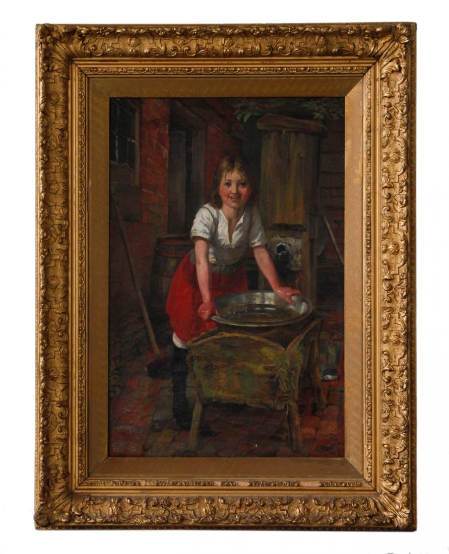 19th C. Oil Painting of a Girl w/ Gilt Frame