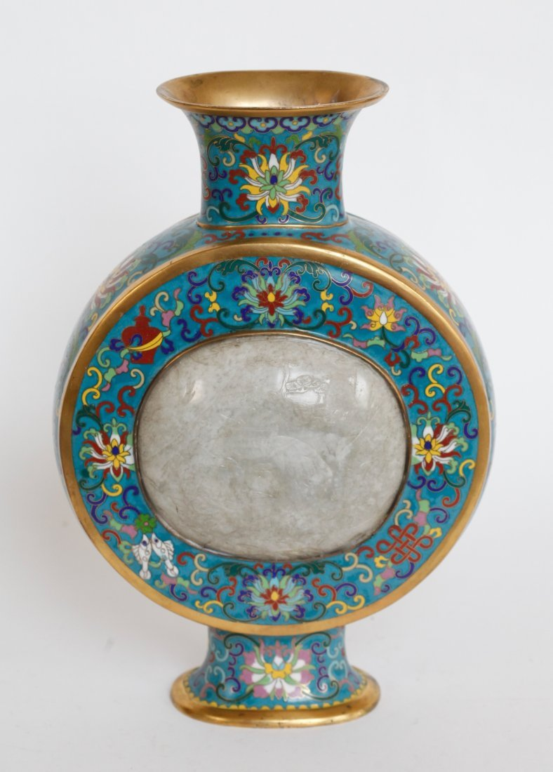 Chinese Cloisonne Vase w/ 2 Jade Plaque