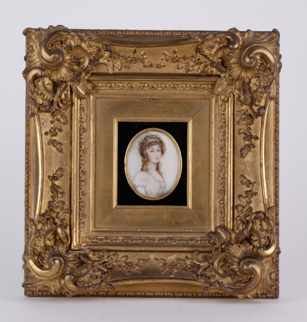 Hand-Painted Miniature of Maiden w/ Gilt Frame