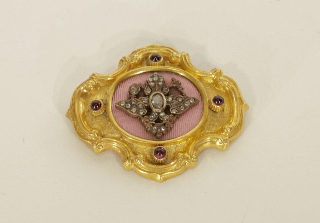 Russian 18K Gold Brooch Mounted Enamel & Diamond