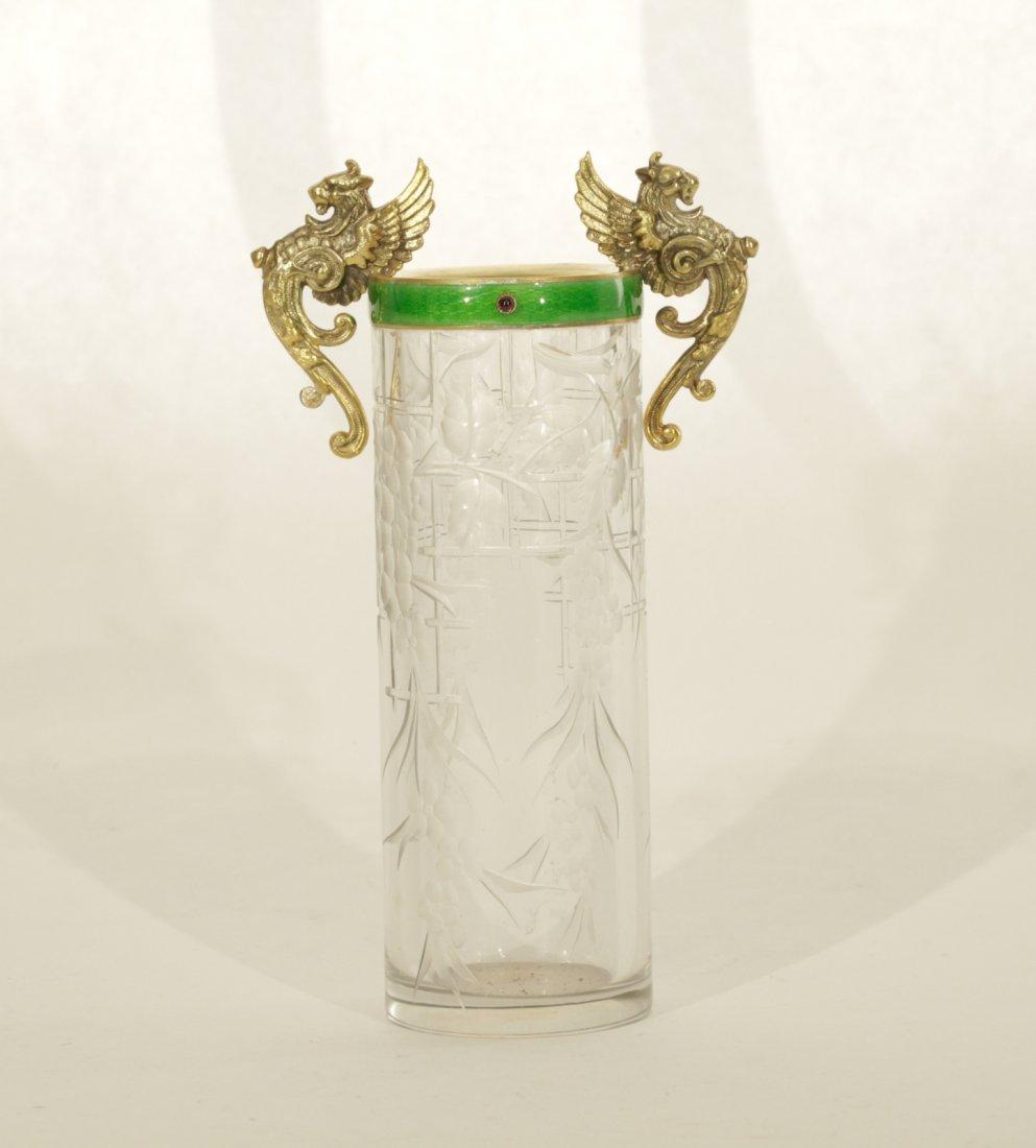 Russian Silver Vase Mounted Enamel