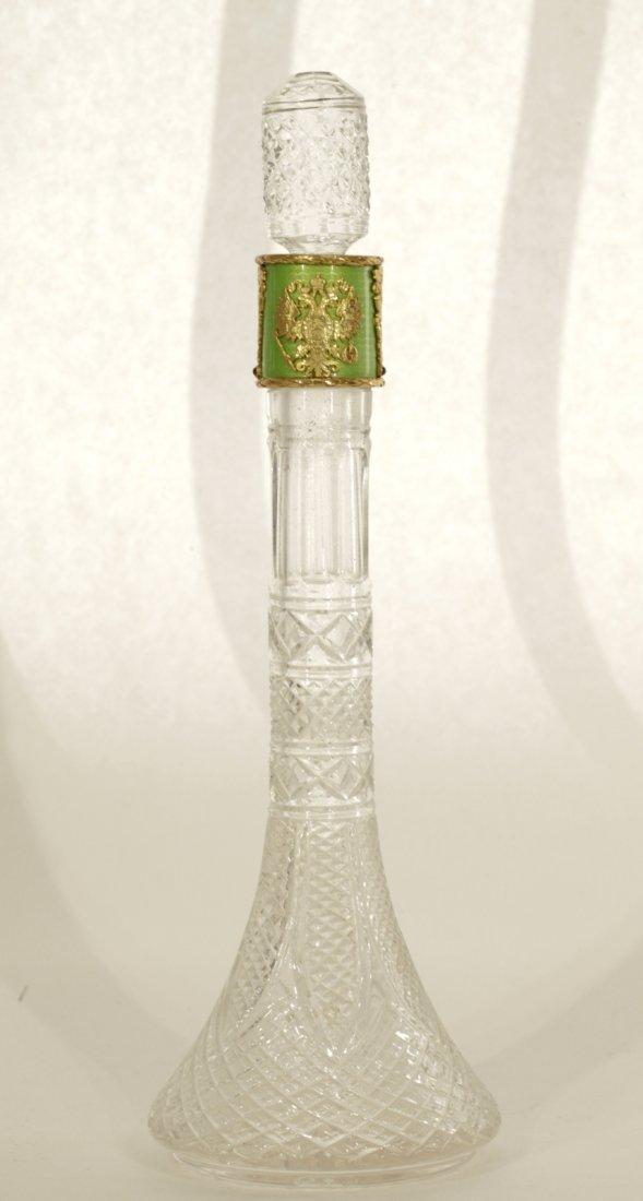 Russian Silver Liquor Bottle Mounted Enamel