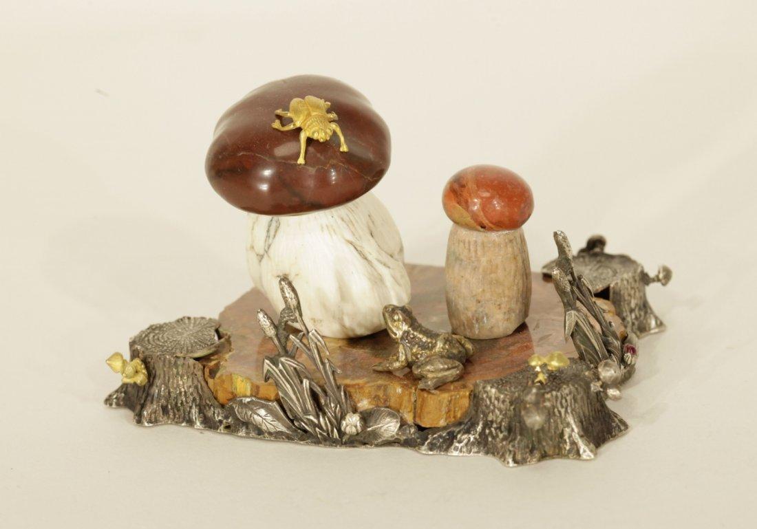 Russian Silver of a Mushroom Garden, Marked