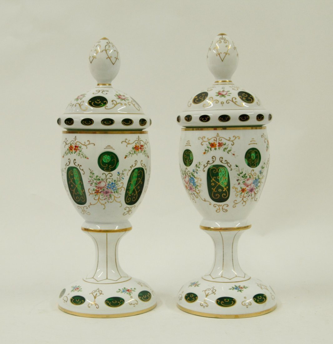 Pair of Overlay Glass White Porcelain Cover Urns