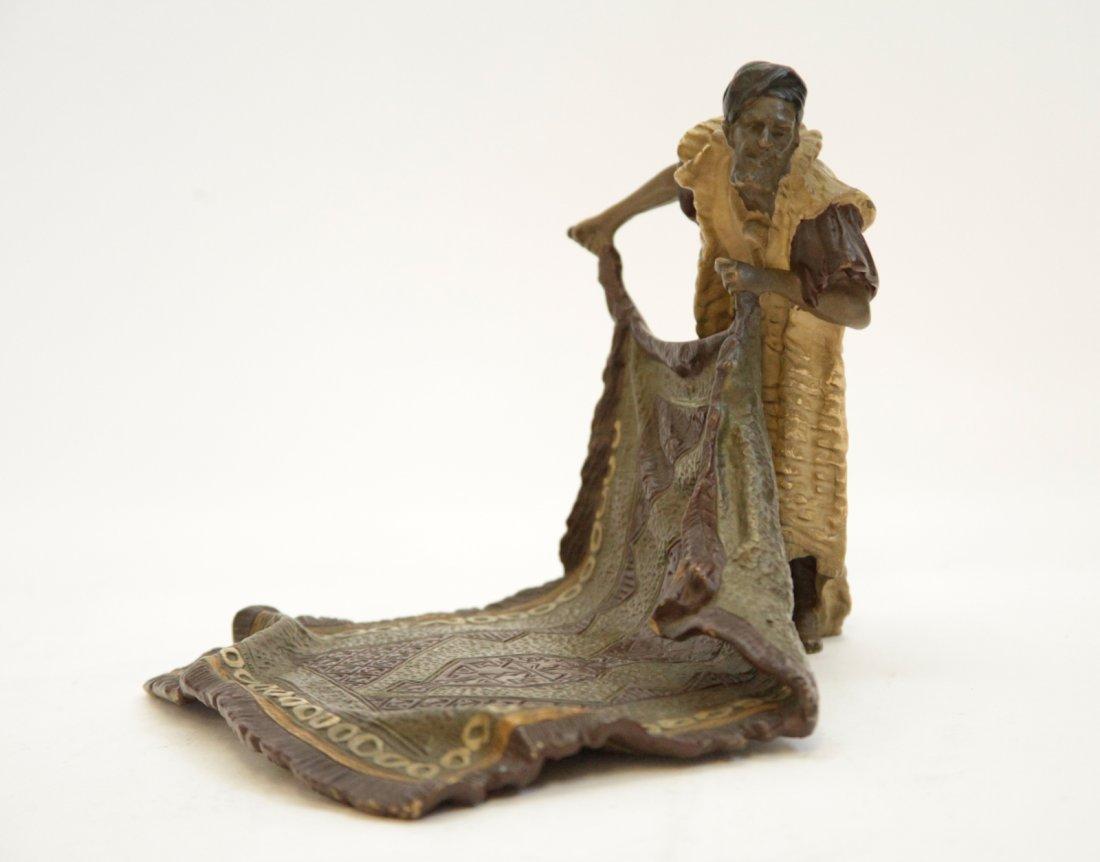 "Viennese Bronze Carpet Seller, Signed ""Bergman"""
