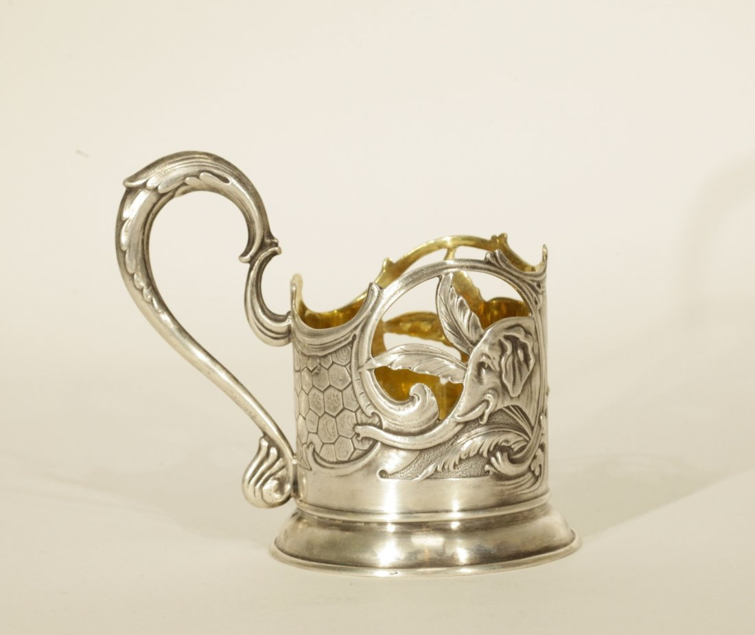 Russian Silver Tea Glass Holder, Marked on Base