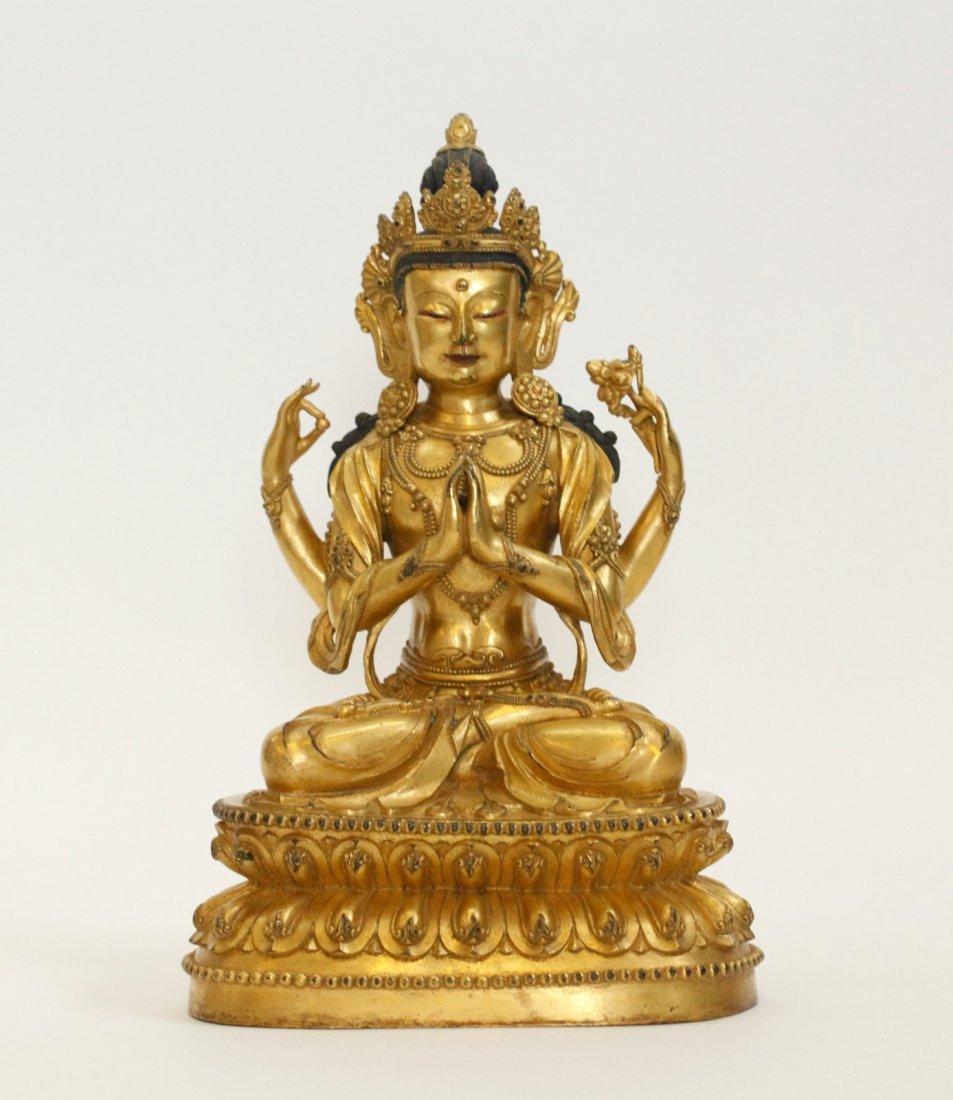 Chinese Bronze Buddha w/ Multiple Hands