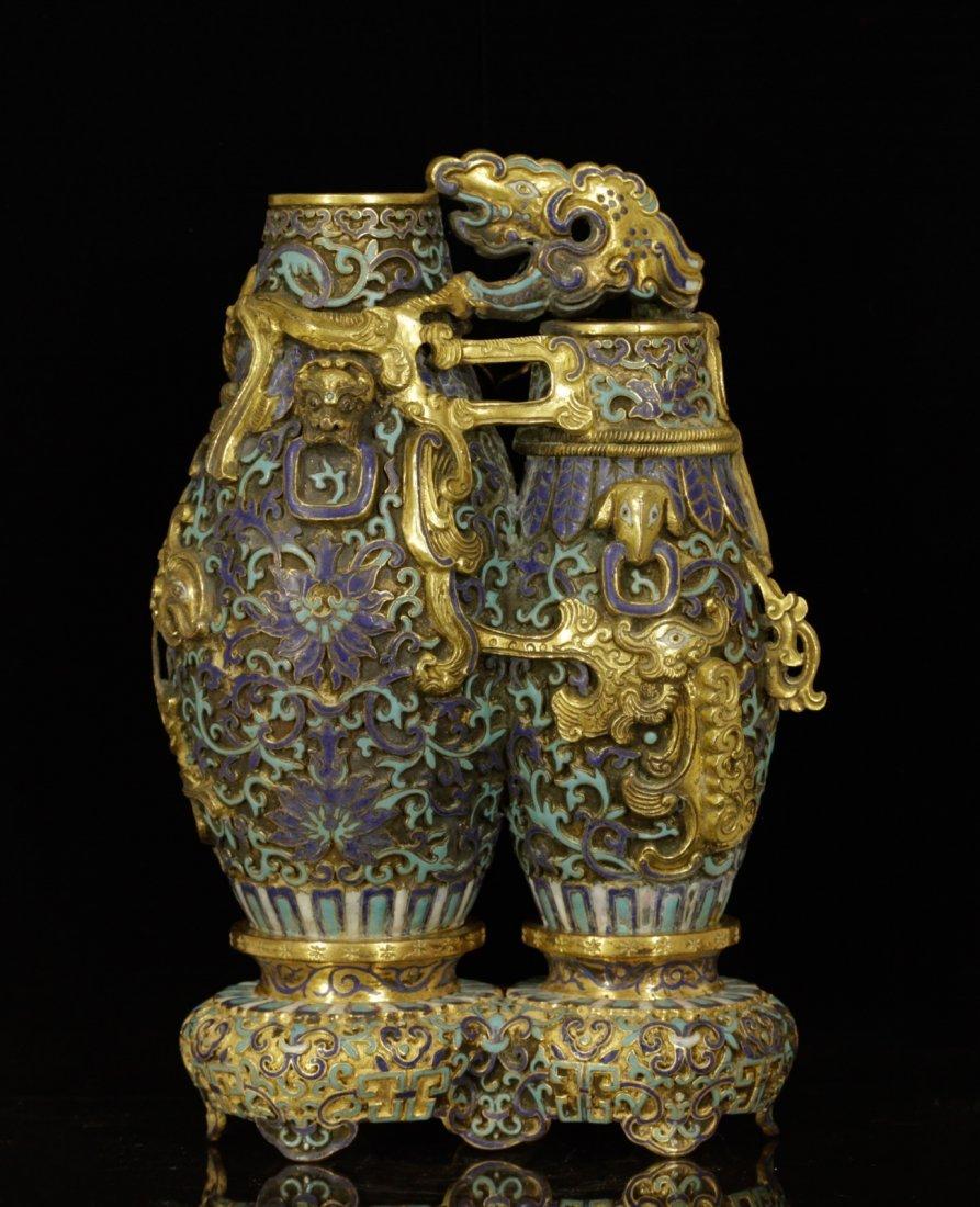 Chinese Enameled Double Vase w/ Mark