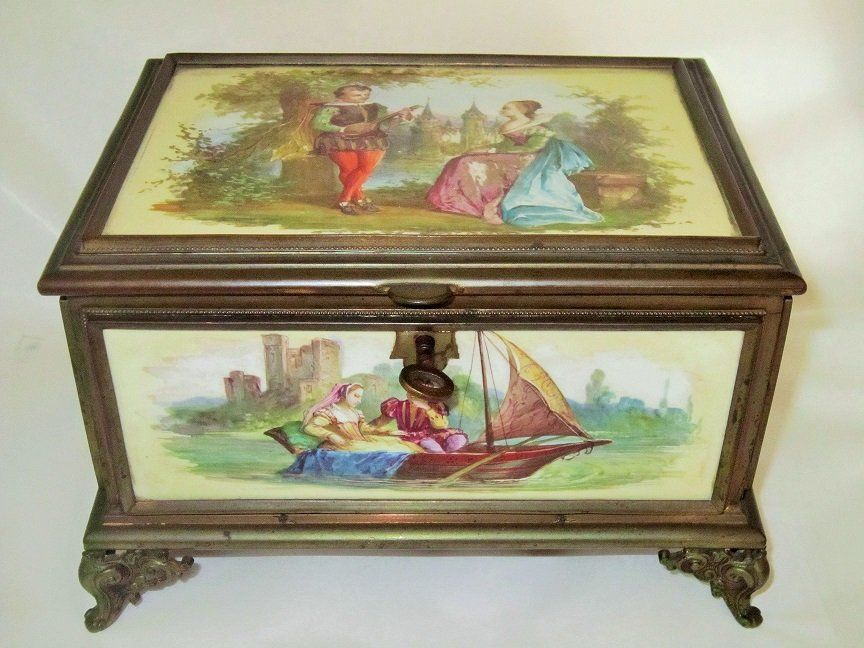 Antique French Painted Porcelain Jewelry Box