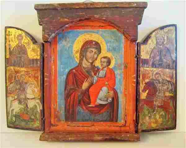 Antique Orthodox Russian - Greek Triptych Icon