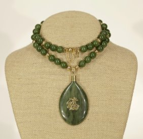 A Spinach Jade Necklace W/ Pendant & Gold