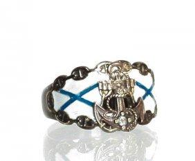 Russian Nordical Silver Enameled & Diamonds Ring