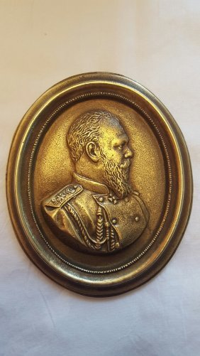 Antique Russian Bronze Plaque Of Tzar Nicholas Ii.