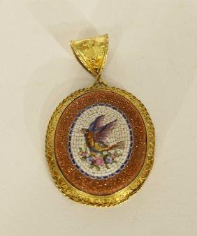 \\micro Mosaic Gold Mounted Pendant