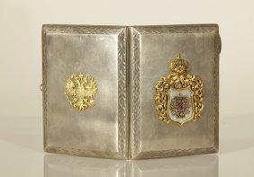 Russian Silver Cigarette Case W/ Rose Cut Diamond
