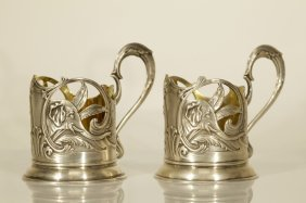 Pair Of Russian Silver Tea Glass Holder, Marked